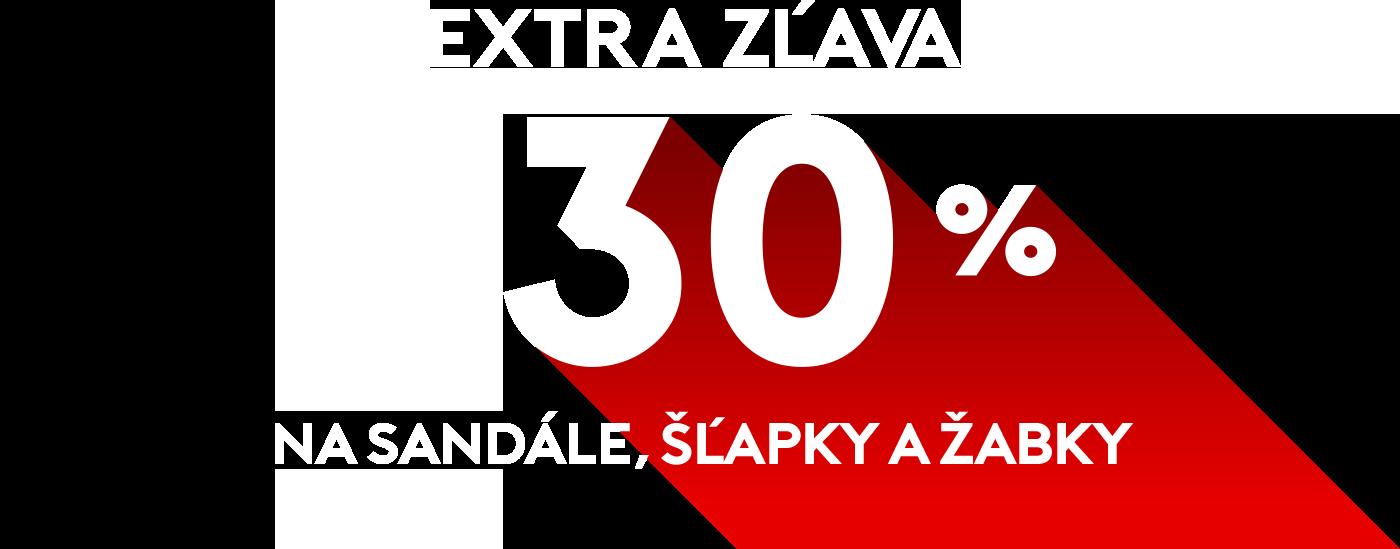 Extra zľava 30% na sandále, šľapky a žabky