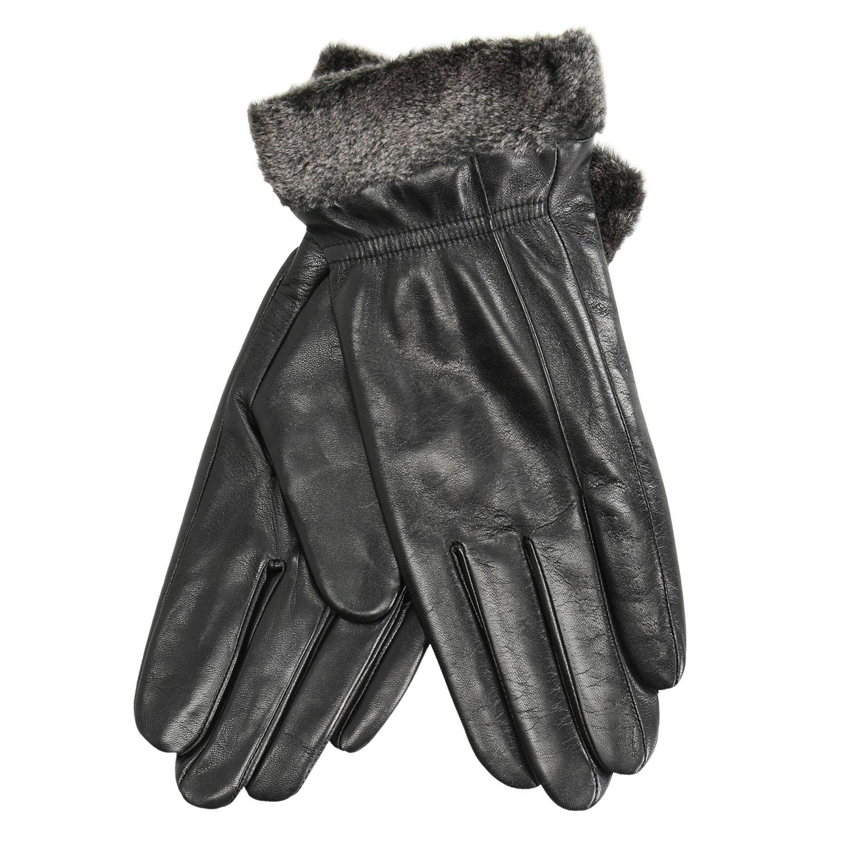 Kožené dámske rukavice s kožušinkou d8a026355e
