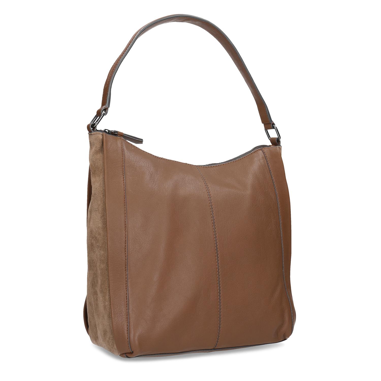 Hnědá kožená kabelka b0a69e21c89