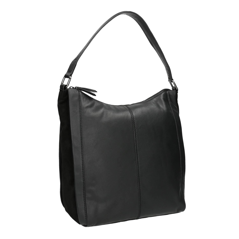 046349108 Kožená kabelka v Hobo stylu černá