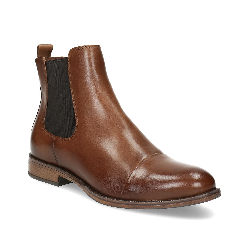 Kožená hnedá dámska Chelsea obuv