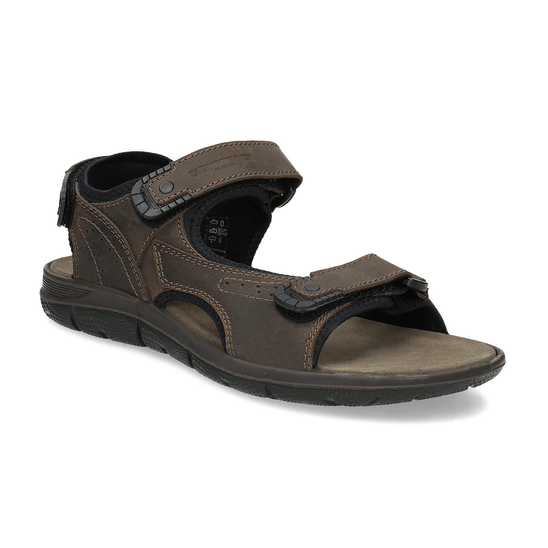 Hnedé pánske sandále z brúsenej kože