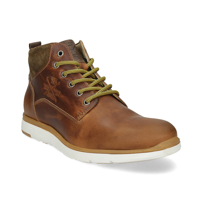 Hnedá kožená pánska členková obuv
