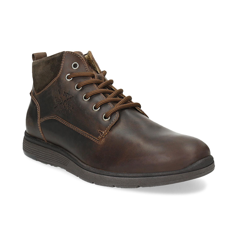 Pánska kožená členková obuv s prešitím