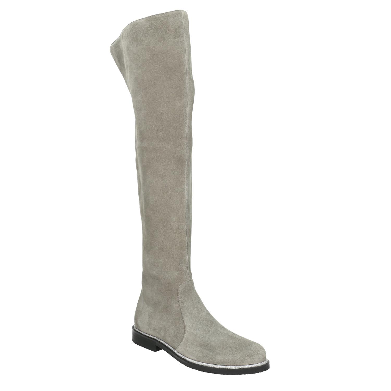 Kožené kozačky nad kolena šedé