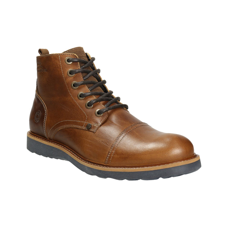 Hnědá kožená zimní obuv