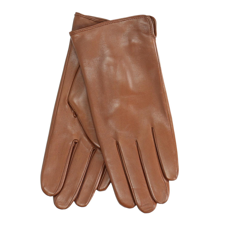 Hnědé kožené rukavice