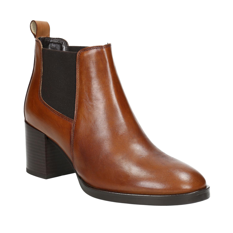 Kotníčková kožená obuv na podpatku
