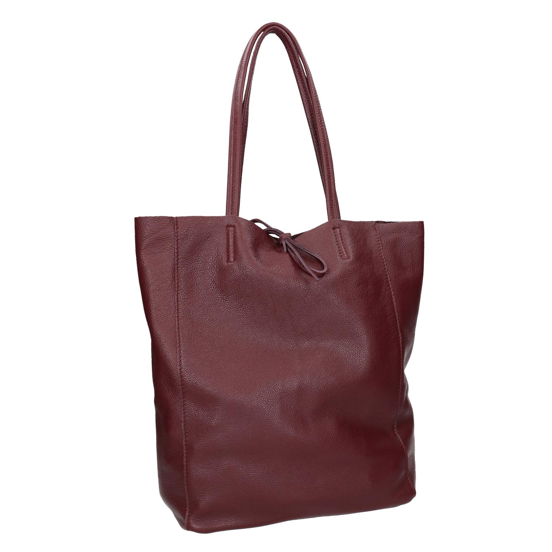 Vínová kožená Shopper kabelka