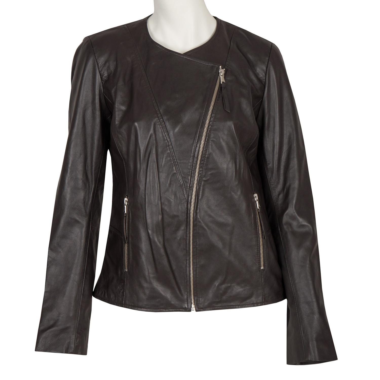 Dámska kožená bunda s asymetrickým zipsom