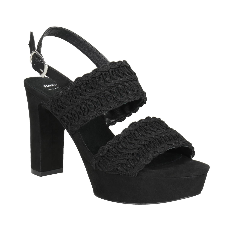 Černé dámské sandály na podpatku s propletením