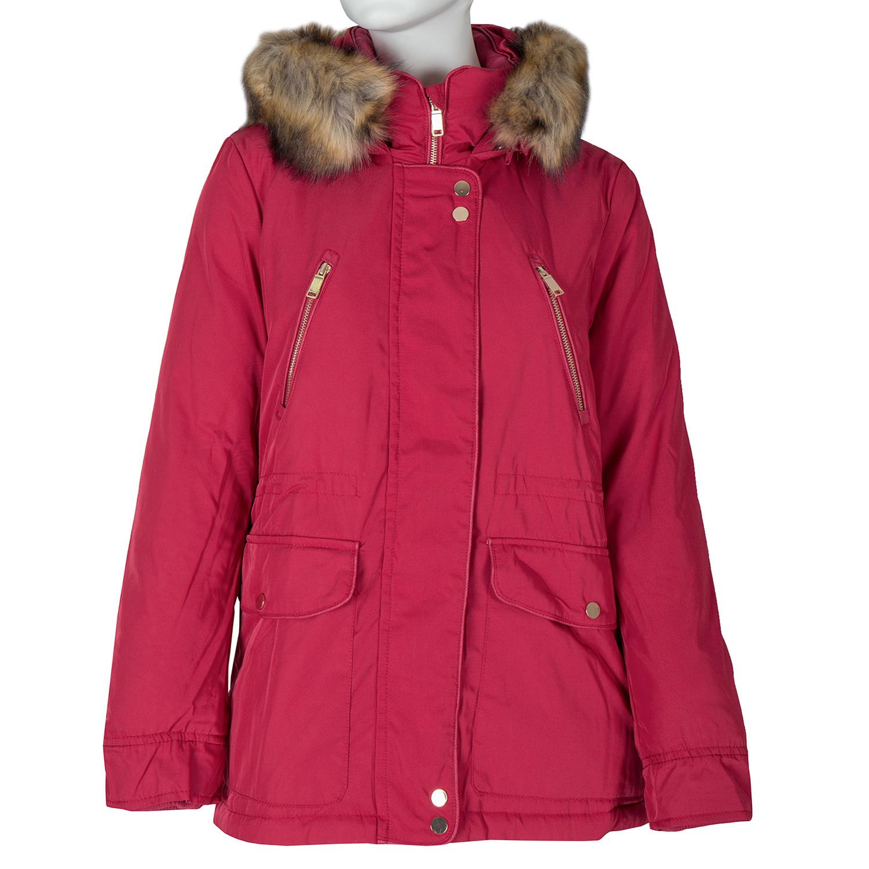 Červená dámska bunda s kapucou