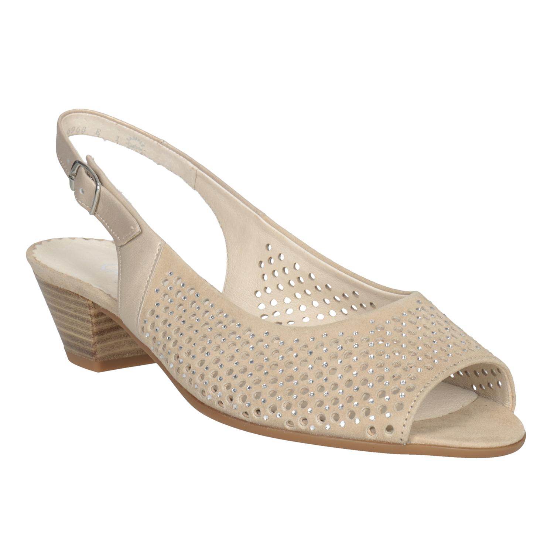 Béžové kožené sandály kamínky šíře H