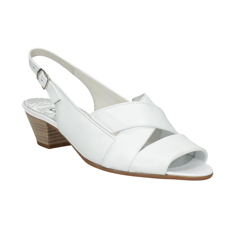 Bílé kožené sandály na stabilním podpatku šíře H