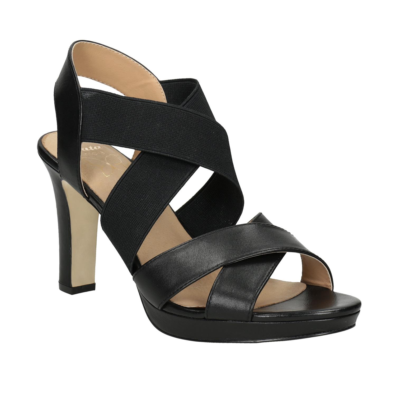 Černé kožené sandály na podpatku s pružením