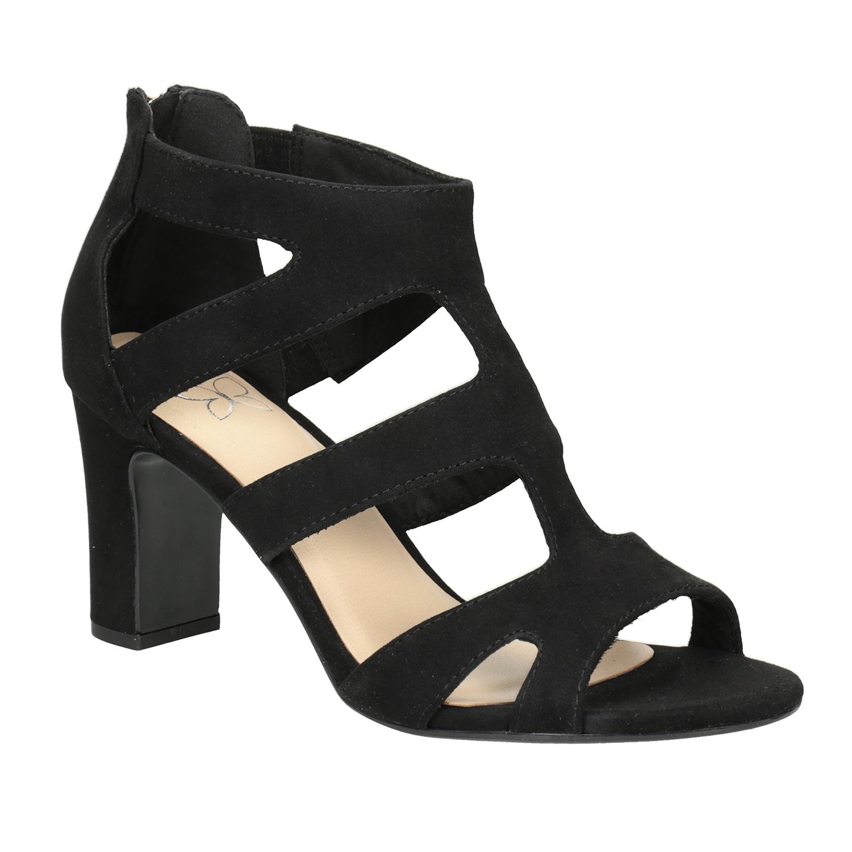 Čierne sandále na stabilnom podpätku
