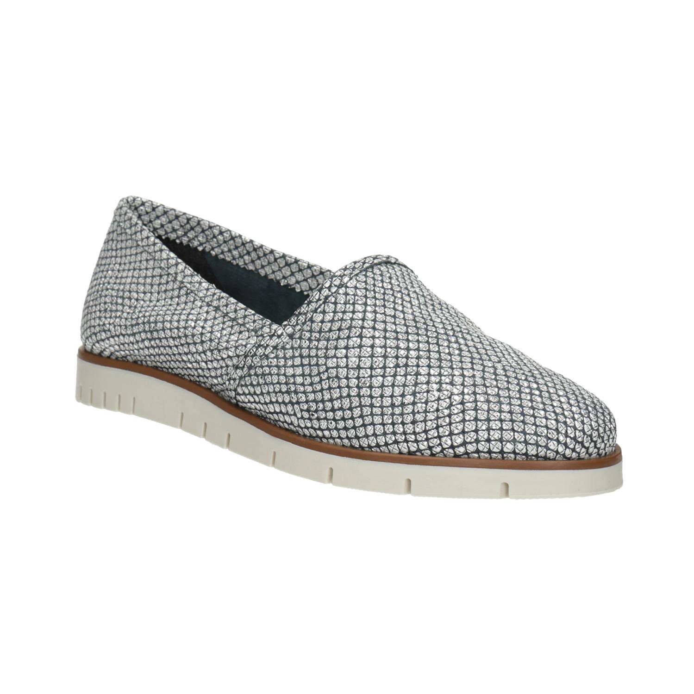 Strieborné kožené Slip-on topánky