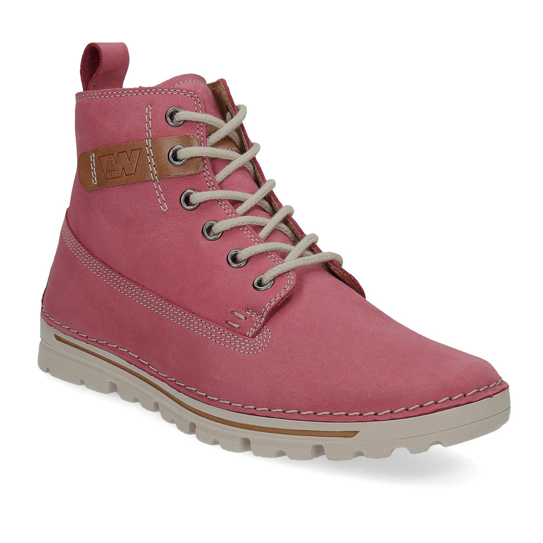 Kožená růžová kotníčková obuv
