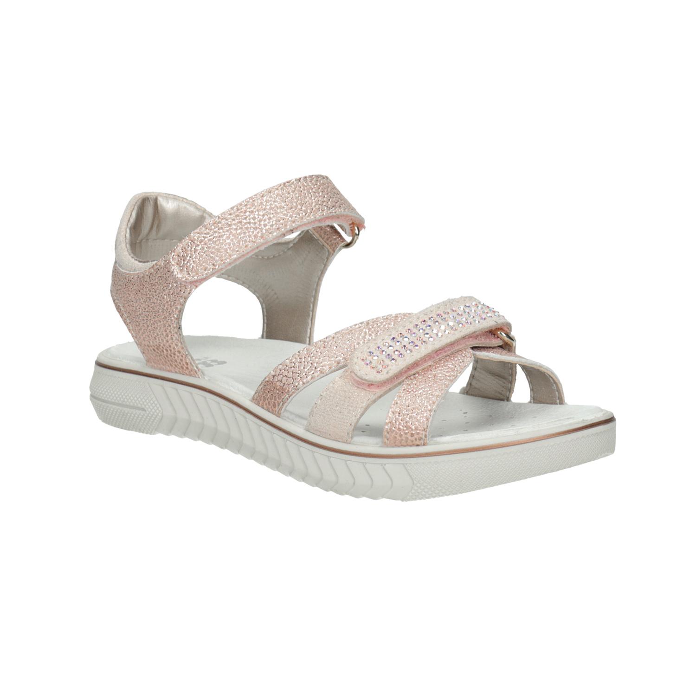 Dívčí růžové sandály s kamínky