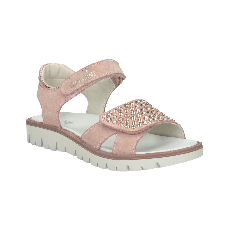 Dívčí kožené sandály s kamínky růžové Bata.cz