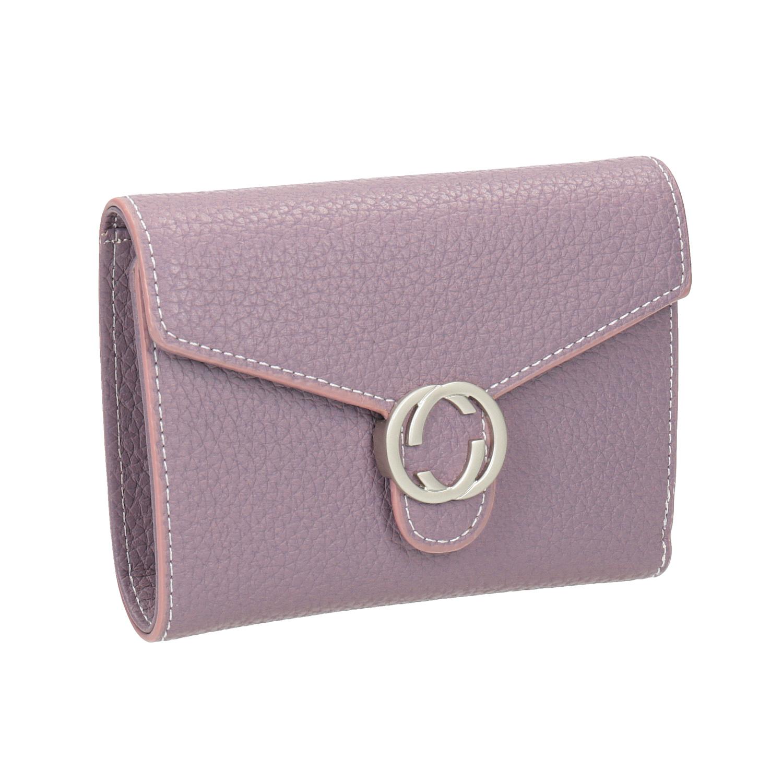Růžová peněženka s kovovým detailem