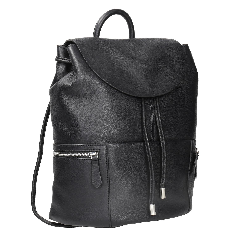 Čierny kožený batoh so zipsami