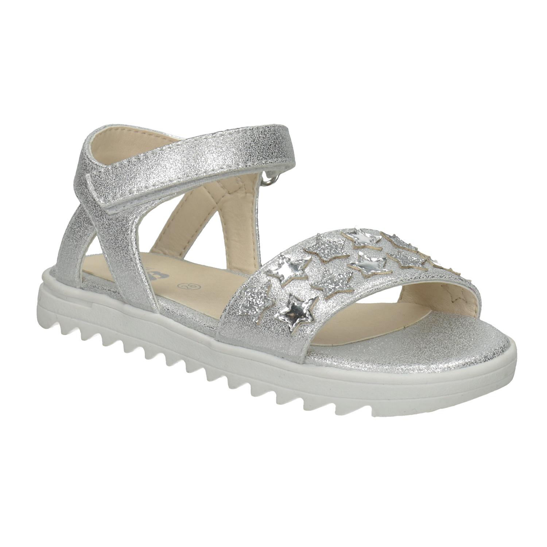 Stříbrné dívčí sandály s hvězdičkami