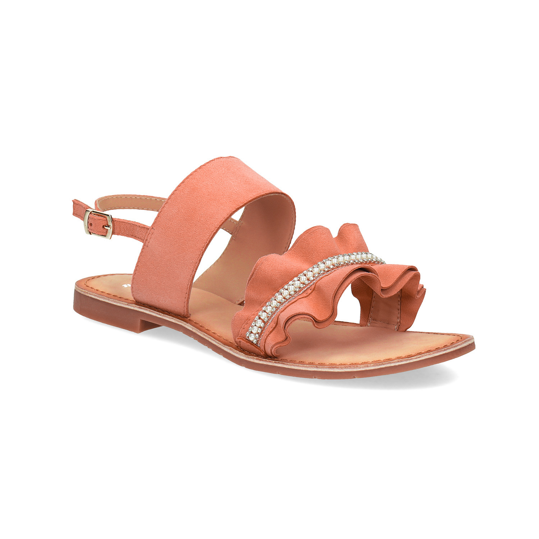0b9f27cc4604 Dámské kožené sandály s perličkami růžové