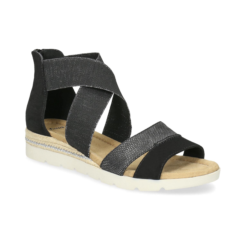Černo-stříbrné dámské sandály