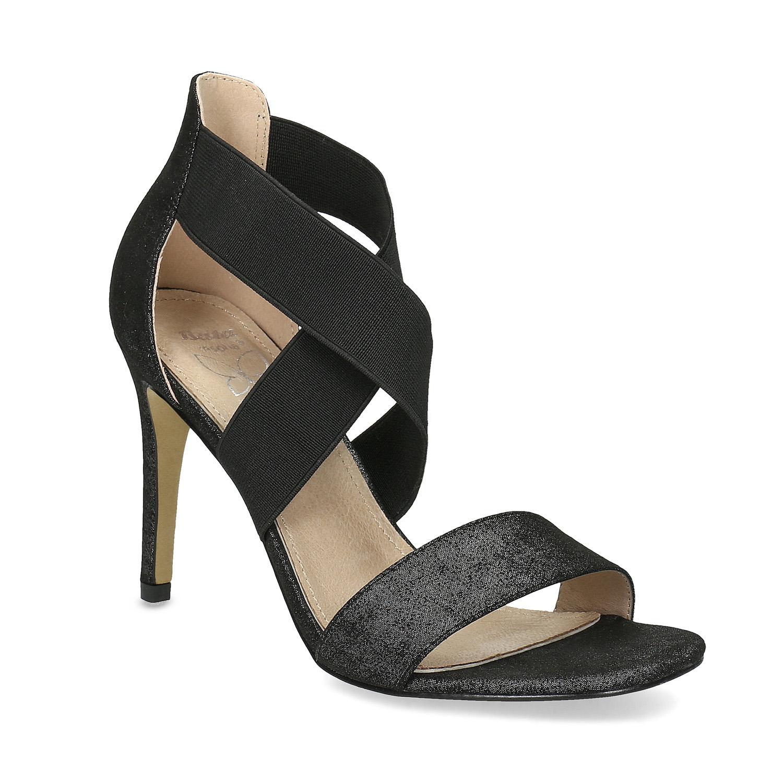 Čierne sandále na ihličkovom podpätku