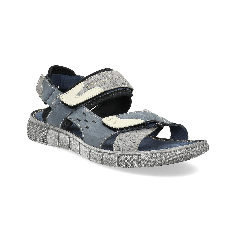 Modré kožené pánské sandály na suchý zip 3dc95f121b