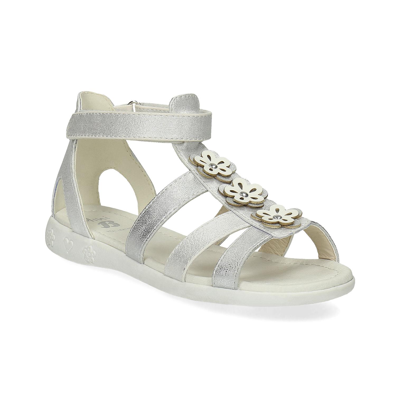 Stříbrné dívčí sandály s kytičkami