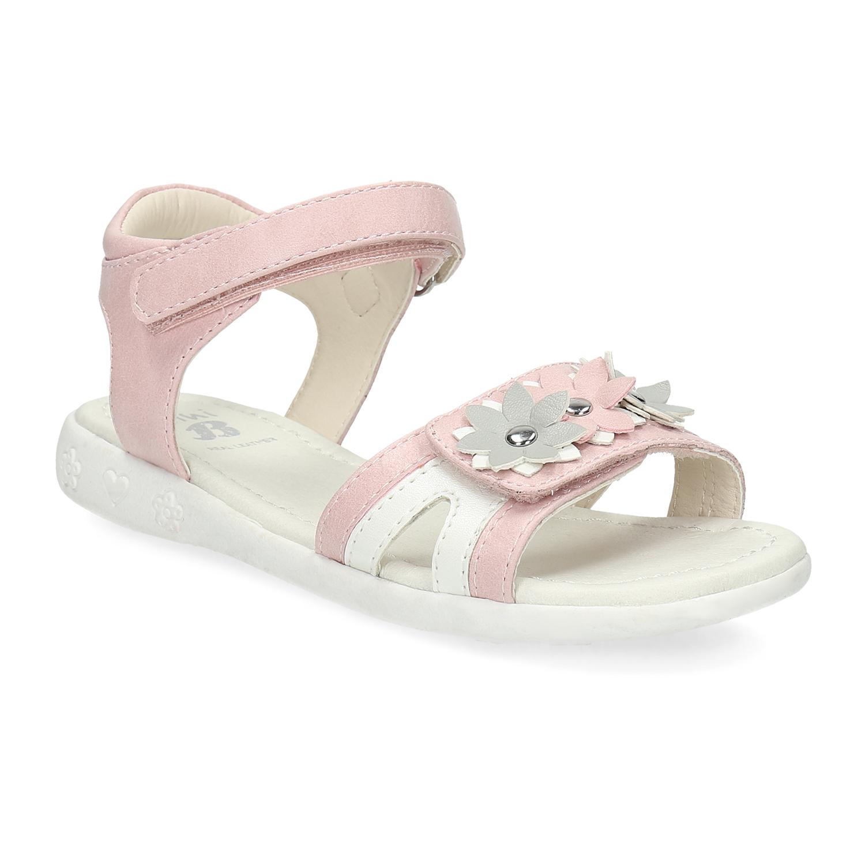 Růžovo-bílé dívčí sandály s kytičkami