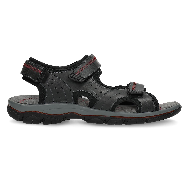 Pánské kožené sandály na suchý zip černé