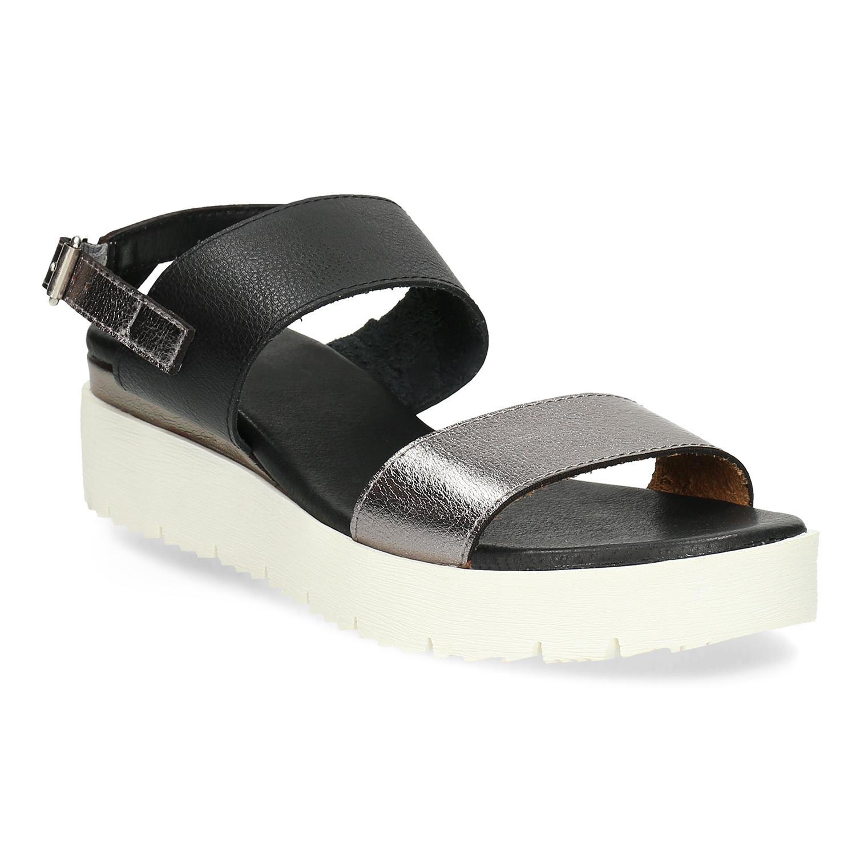 Dámské sandály na flatformě černo-stříbrné db6874f523