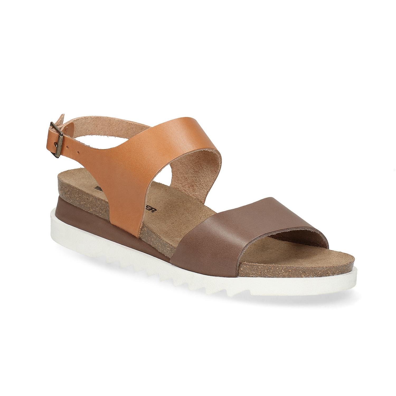 15d410faa1cb Dámské kožené sandály s korkovou podešví