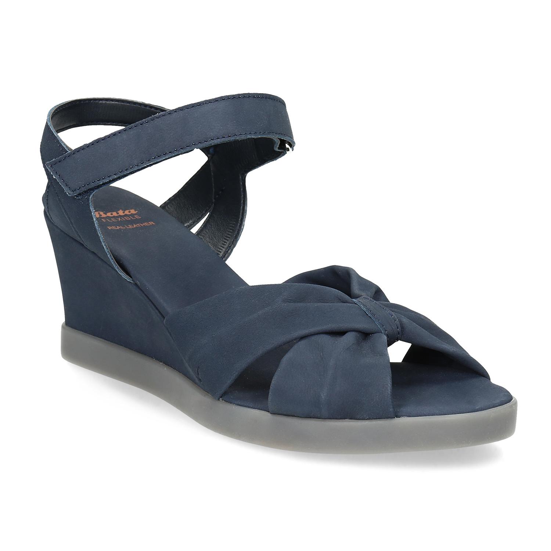 Modré kožené sandály na klínku