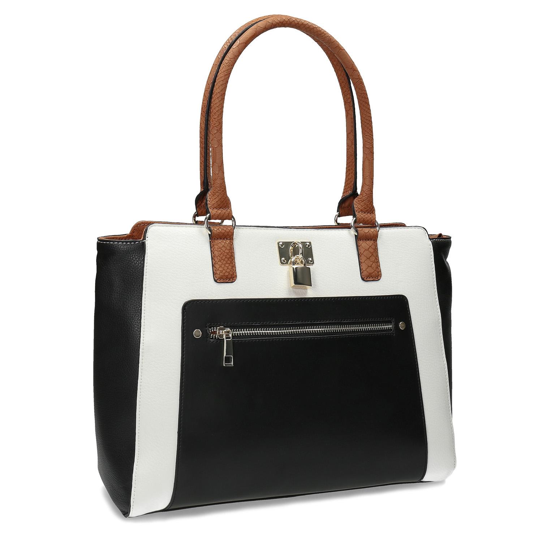 Dámská kabelka černo-bílá se zámečkem