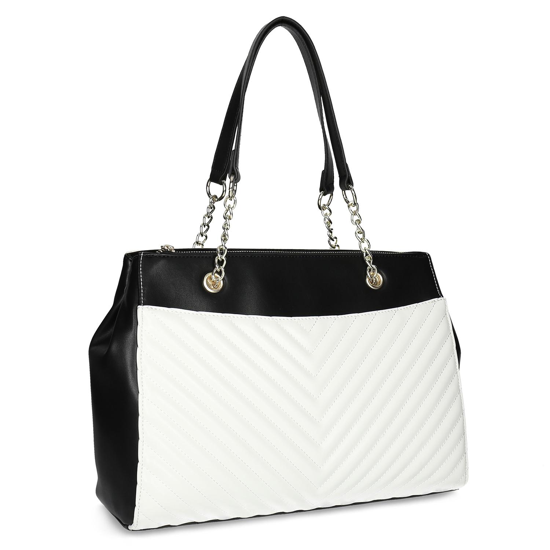 Černo-bílá kabelka s prošíváním