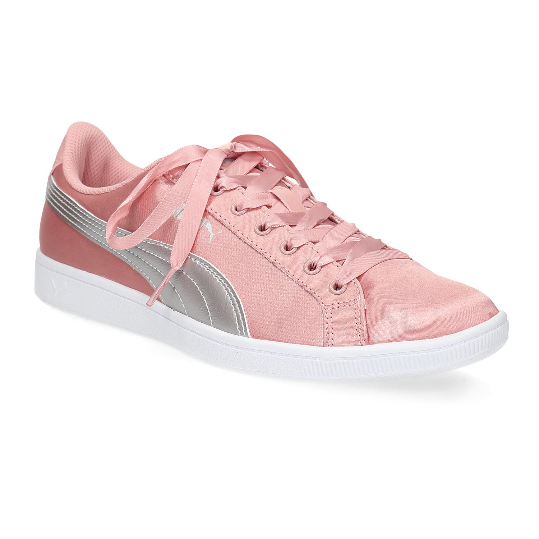 Růžové saténové tenisky s mašlí
