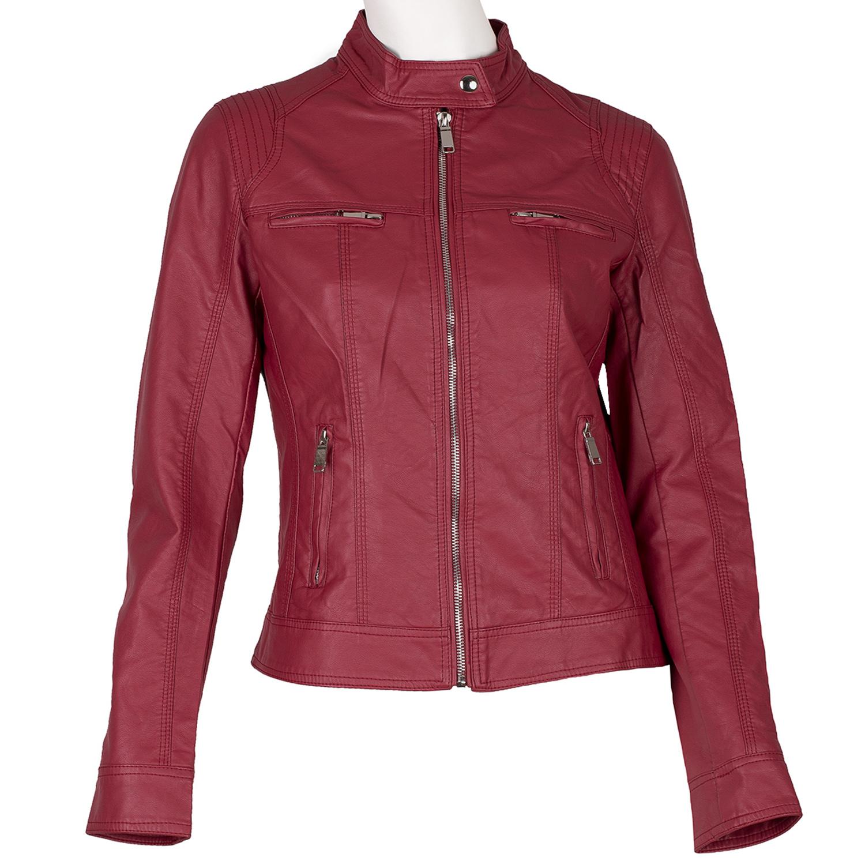 Koženková dámska bunda červená
