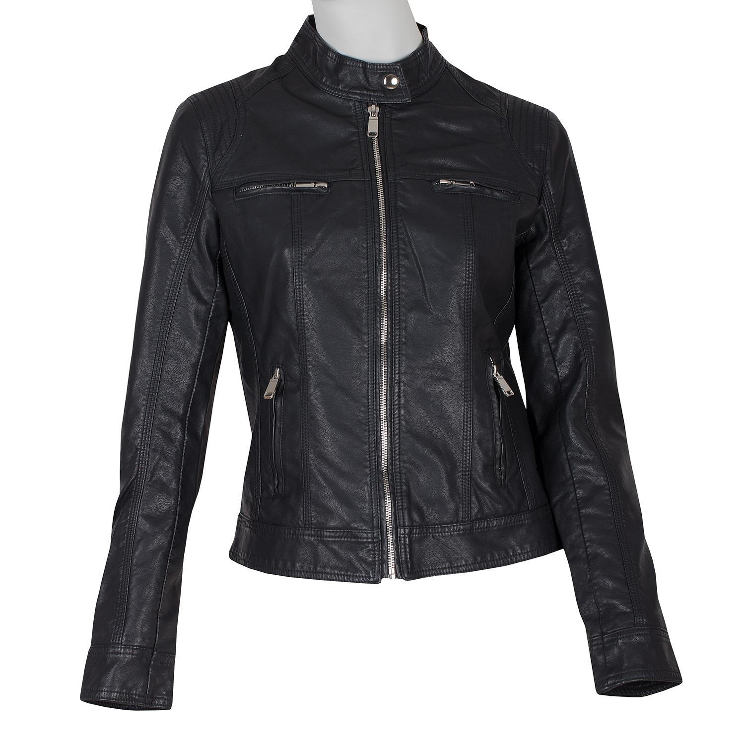 Čierna dámska koženková bunda