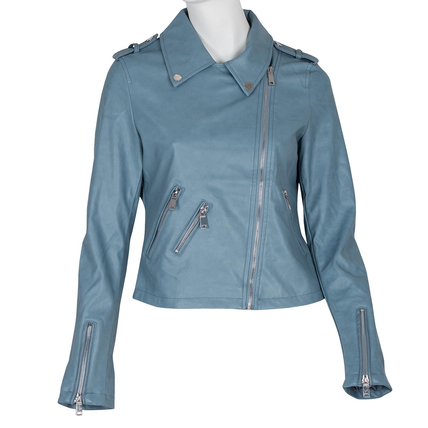 Modrá dámska kožená bunda so zipsami