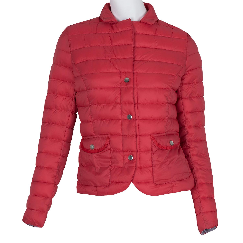 Červená prešívaná bunda s golierom 46f52587ca4
