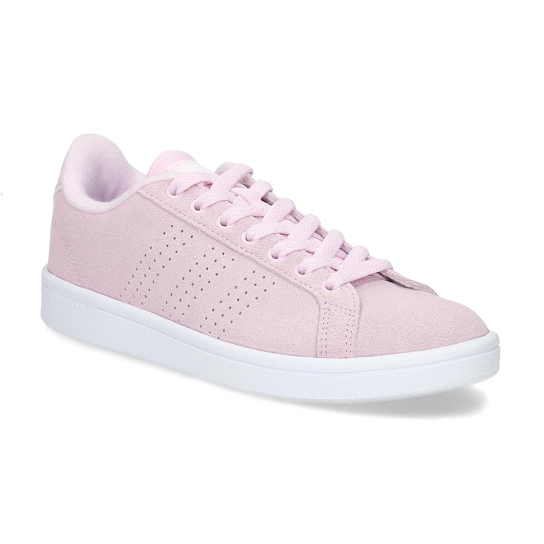 Růžové kožené tenisky dámské