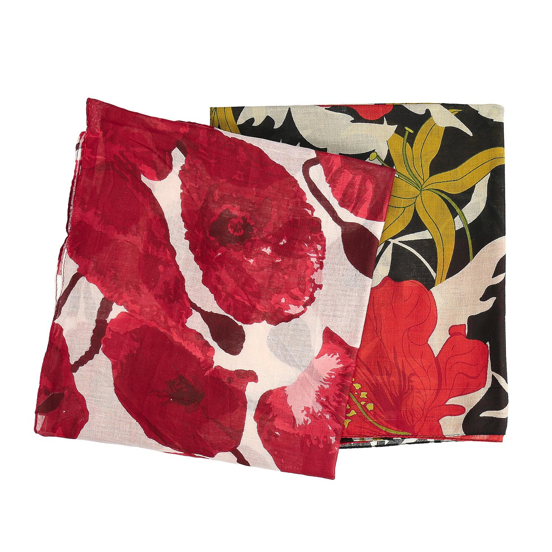 Dámske šatky s bordovými kvetmi