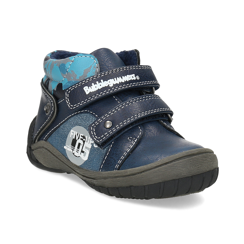 Detské modré členkové topánky na suché zipsy