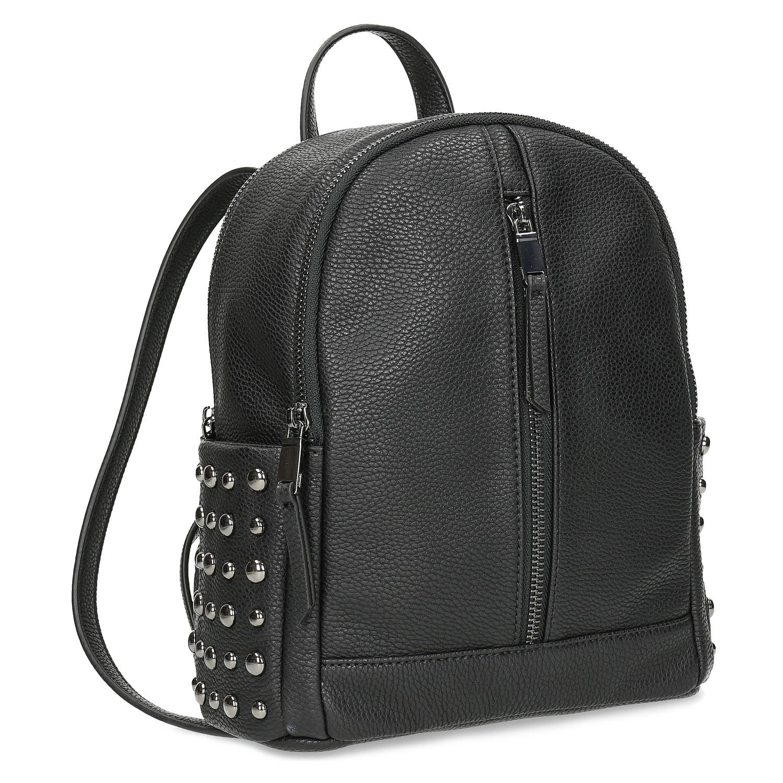 Černý dámský batoh s kovovými cvoky