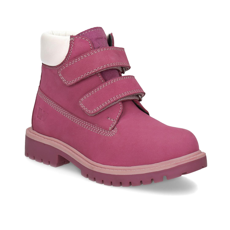 Růžová kožená dětská kotníčková obuv