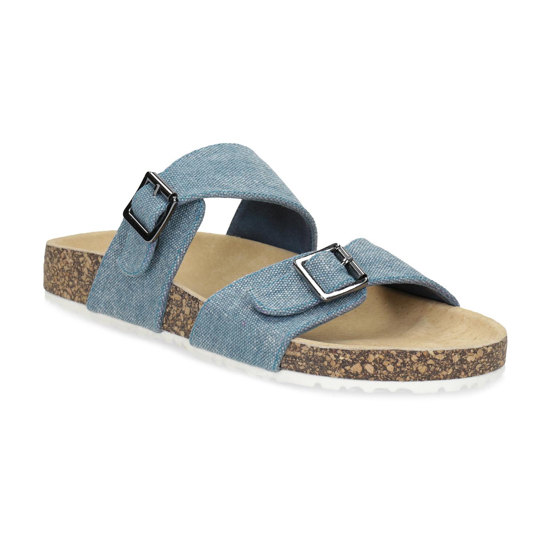 Dámske modré korkové papuče